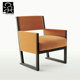 Modern wooden frame leisure armchair/real leather lounge chair/arm chair