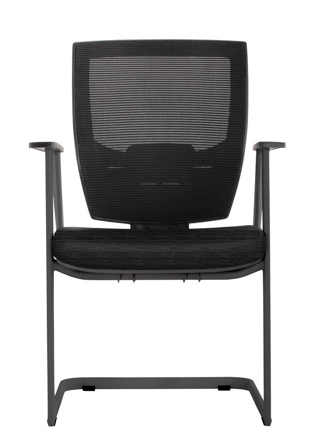 """Set of 2 Cantilever Guest Chair with Memory Foam Patterned Fabric Seat Dimensions: 23.25""""W x 24.5""""D x 38.5""""H Weight: 42 lbs. Black Mesh Back/Jet Winslow Culp Fabric Seat/Black Painted Frame"""