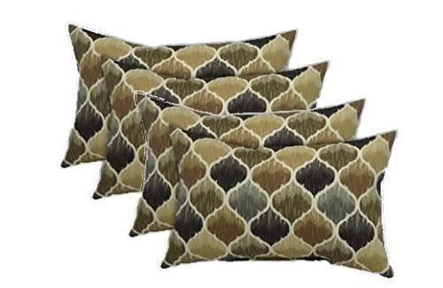 Set of 4 Indoor / Outdoor Decorative Lumbar / Rectangle Pillows Black, Brown, and Grey/Gray Teardop Geometric Pattern