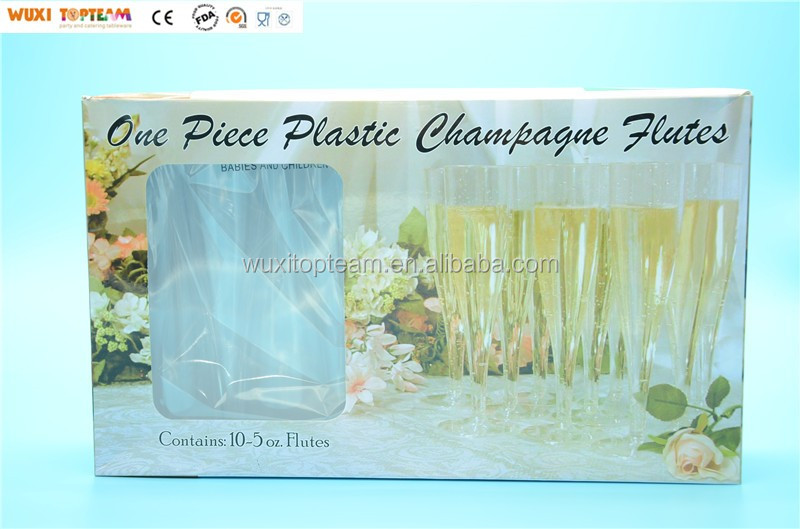 5oz Plastic Disposable Fluted 1 pc Champagne Tumbler