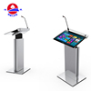 Luxury Modern Electronic Steel Podium Digital Multimedia Pulpit Lectern Designs