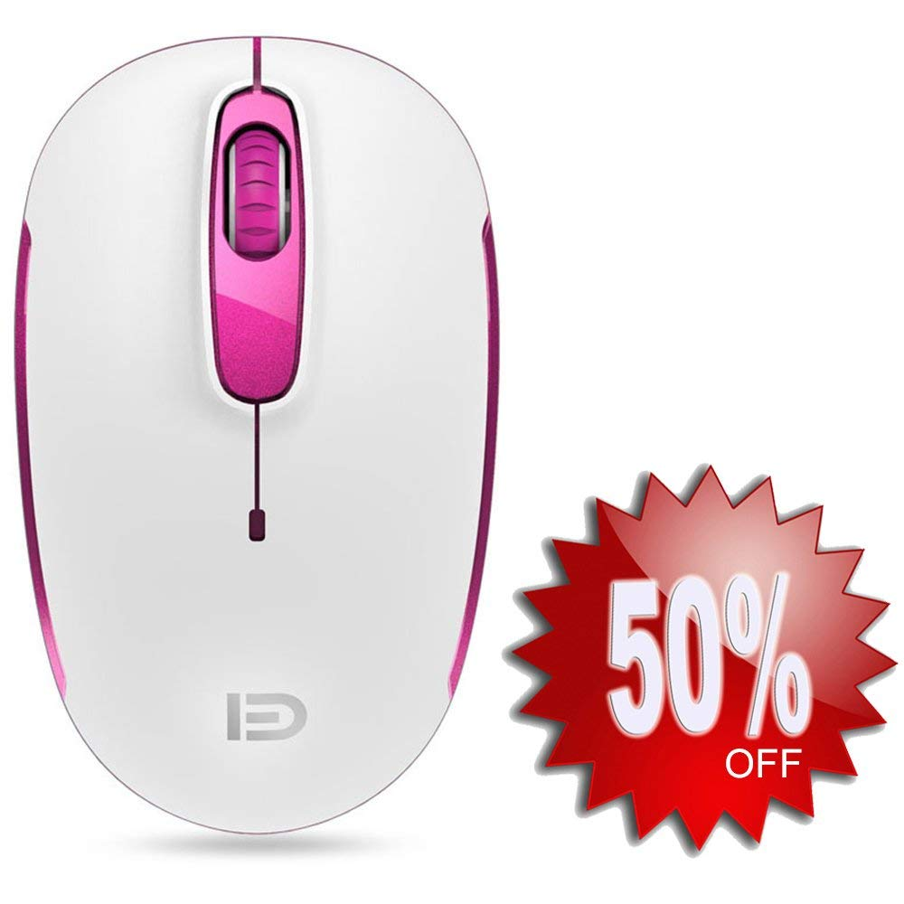 Wireless Mouse (Battery Included), FD M510c 2.4G Mini Silent Click Cordless Mouse, Optical Travel Mice with Nano USB Receiver for Desktop, Laptop, Computer, Chromebook and Notebook (White and Pink)