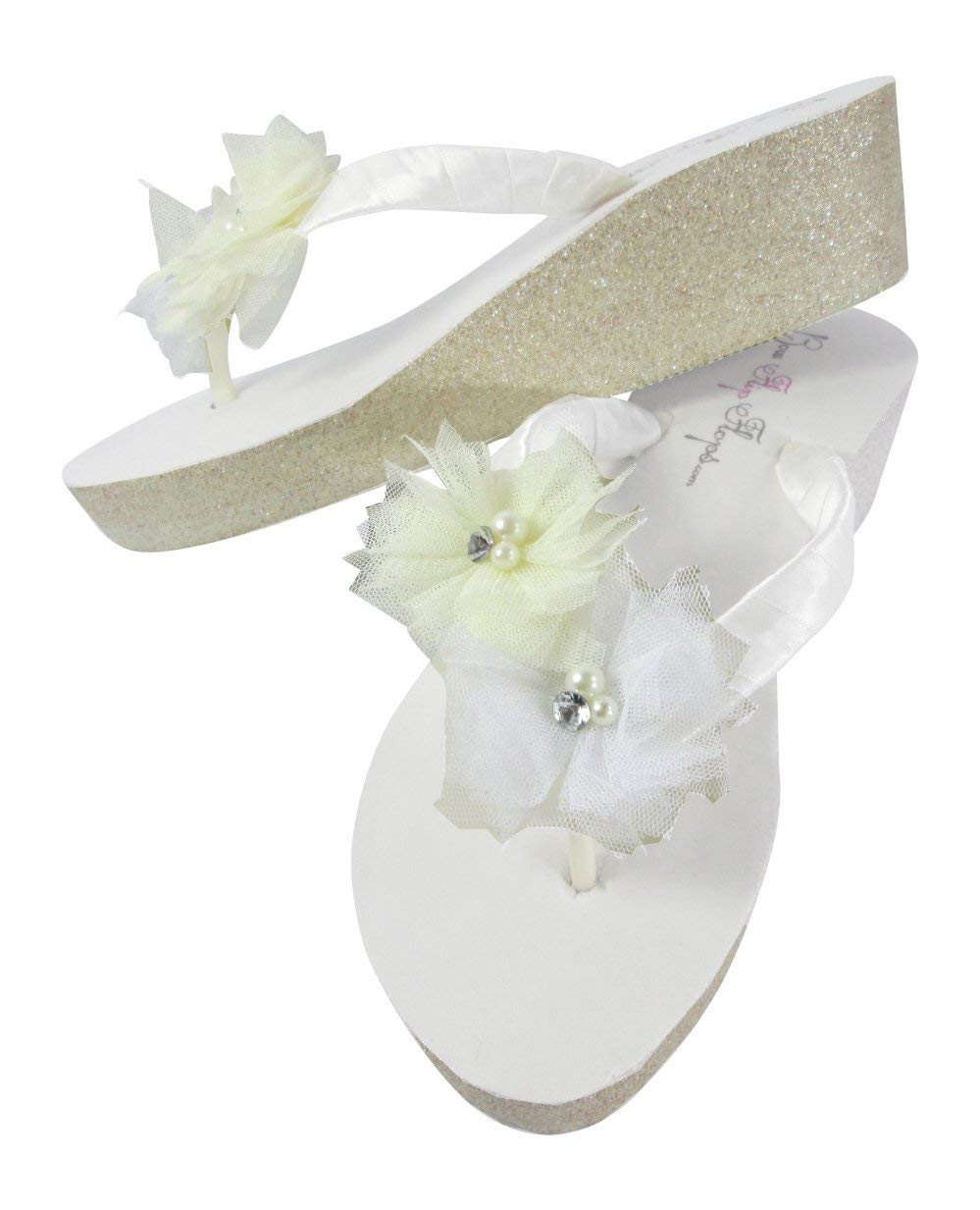 8a65bae58d85 Get Quotations · White Bridal Flip Flops with Tulle Flowers on Glitter  Wedges in Champagne Silver or Gold