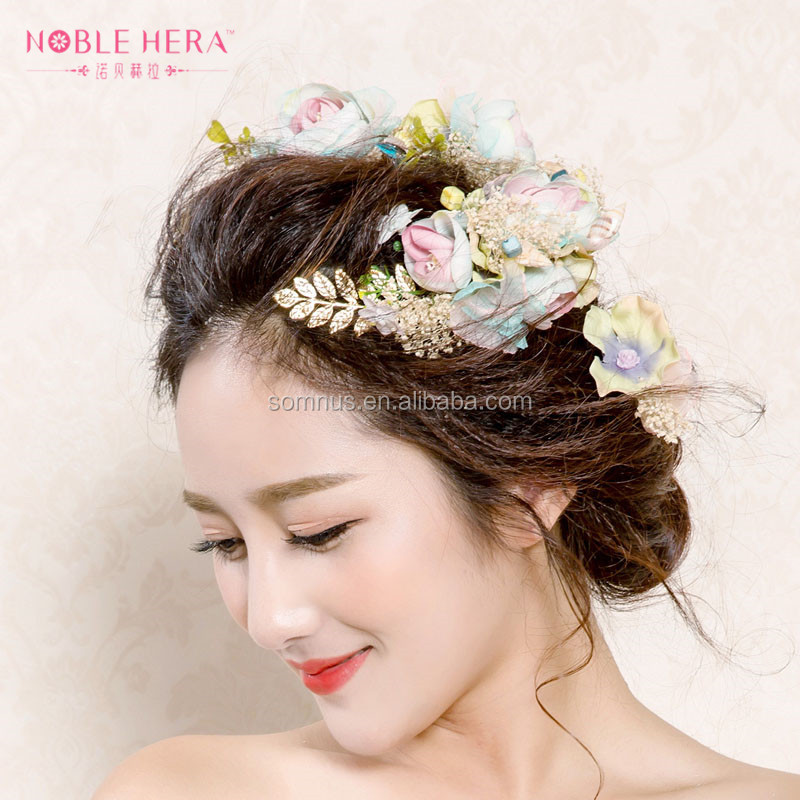Fashion Gold Leaf India Unique Women Hair Accessories Tiaras for Wedding 100TZ