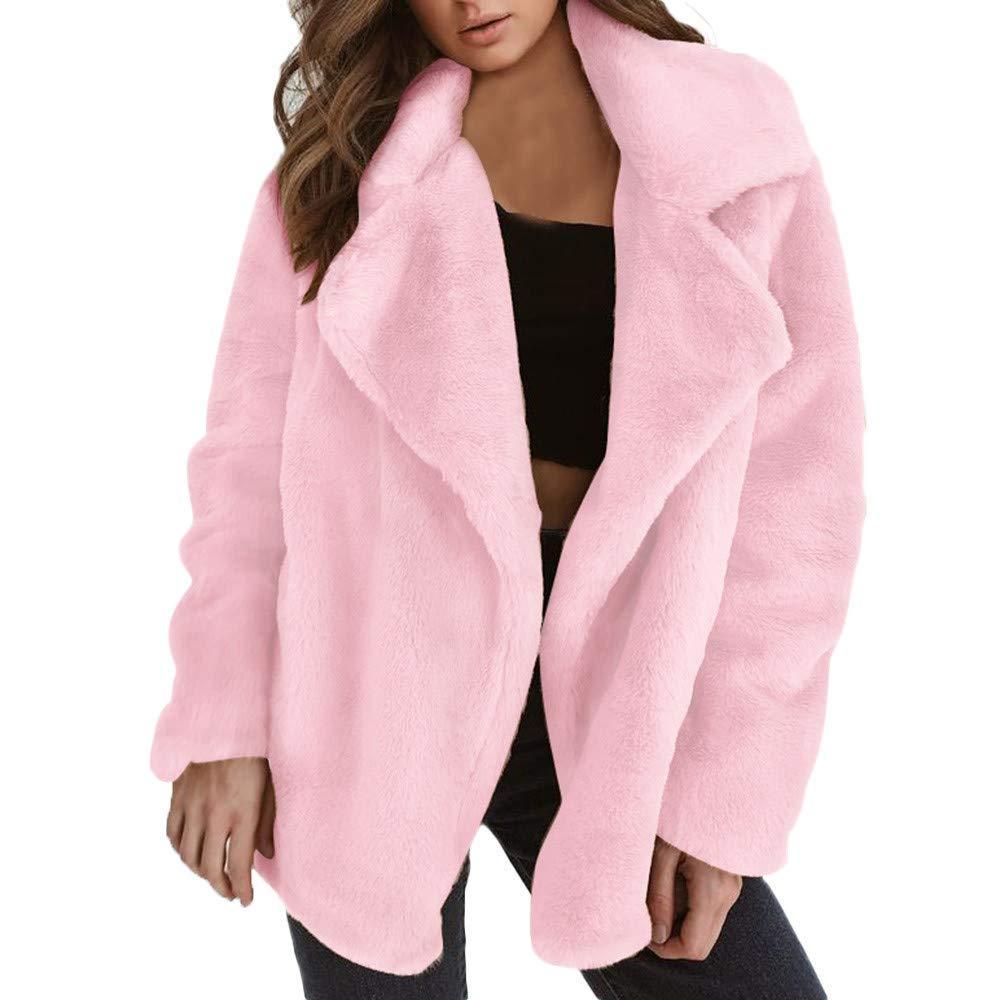 Clearance!! Amiley Parkas Women Winter,Women Warm Coat Plush Lapel Cardigan Parka Outwear Jacket Overcoat