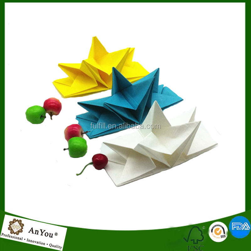 Printed origami napkins color folded paper napkins 40*60cm star shape pre folded tissue paper napkins