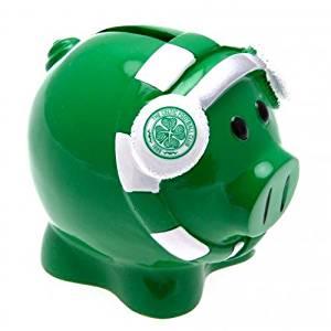 Celtic F.C. Scarf Piggy Bank- scarf piggy bank- approx 10cm x 8cm x 8cm- in a presentation box- Official Football Merchandise