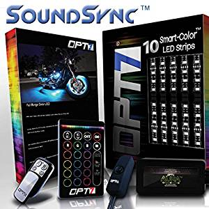 10pc SoundSync0153; Aura Motorcycle LED Light Kit - Lights Flash To Music | Multi-Color Accent Glow Neon Strips w/Switch for Cruisers