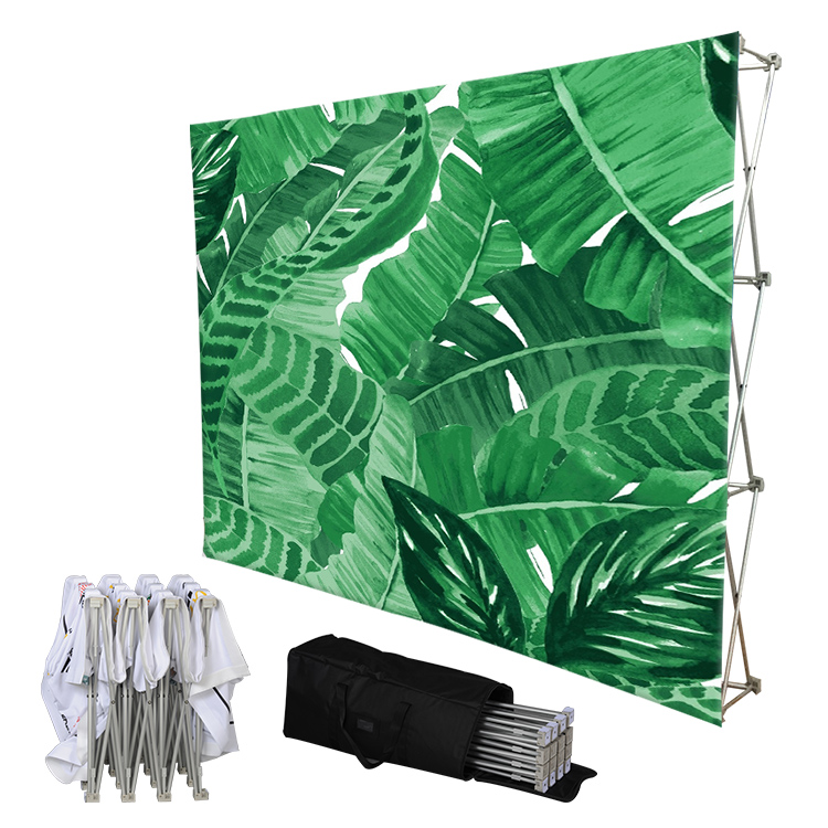 8ft Portable Aluminum frames tension fabric foldable pop up wall Banner display <strong>Stand</strong>