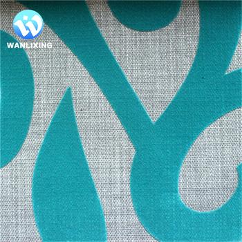 Flocked Pattern Linen Like Sofa Curtain Fabric,Linen Like Fabrics ...