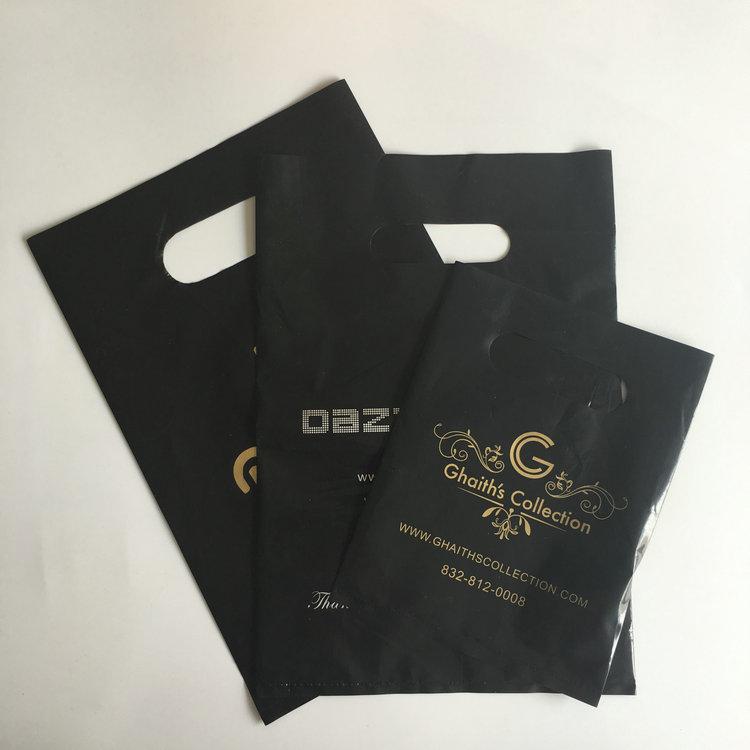 アリババ中国サプライヤーあなた自身のロゴ印刷プラスチックダイカットポリハンドルバッグで底マチ