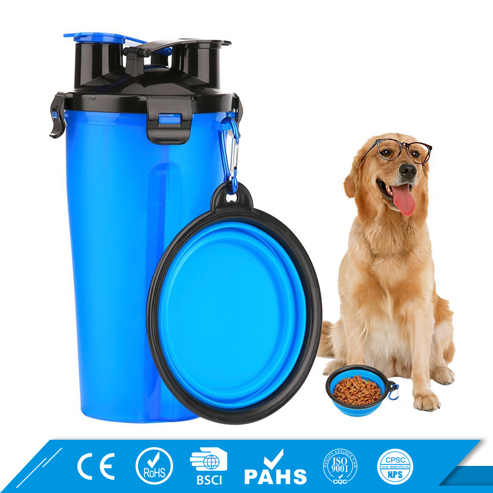 2 in 1 Portable Dog Food Cup for Travel Dog Water Bottle with Bowl