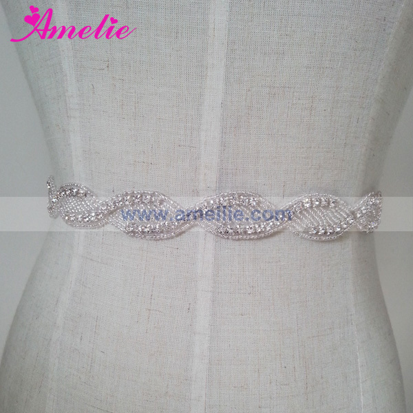Hand Sewed Hot Fix Rhinestone Trimming for Wedding Dress Belt or Garment Accessories
