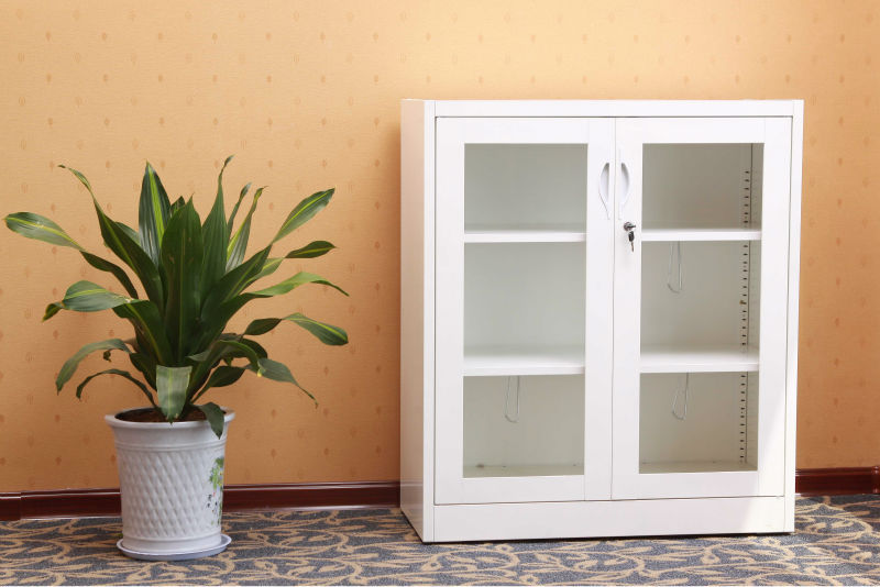 High Gloss White Small Cabinet With Glass Doors / Steel Cabinet With Two  Doors