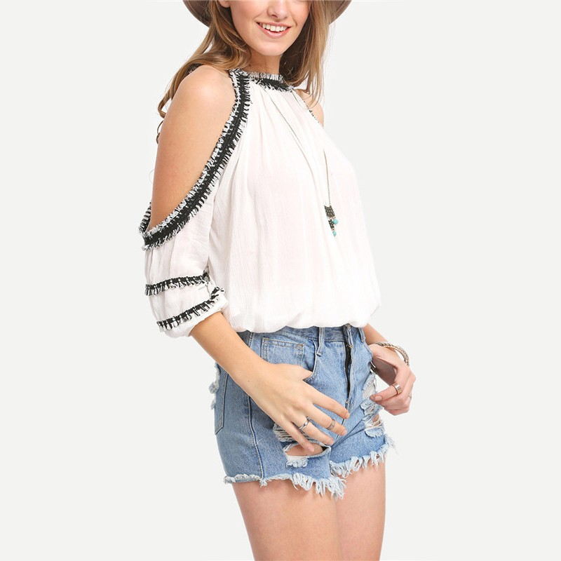 b7394da12fc Stylish Woman Summer Off Shoulder Tops Sexy O-neck White Shirt Rayon  tassels Trim Cold