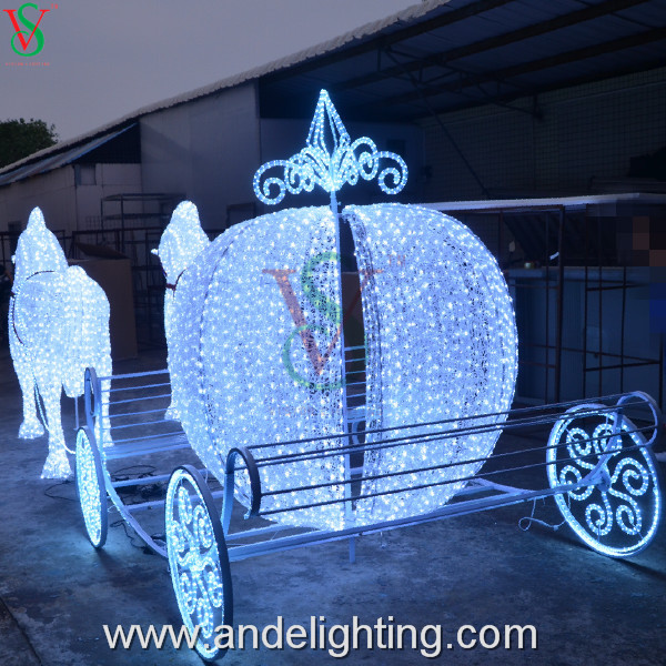 3d Acrylic Pumpkin Horse Carriage Decoration Light Outdoor