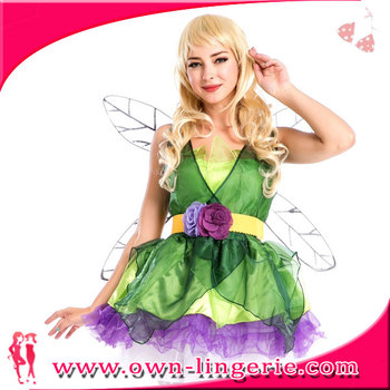 Acessório Asas De Fadas Traje Vestido Verde Sexy Verde Da Floresta De Fadas Tinkerbell Vestido De Festa Outfit Cosplay Buy Floresta Verde Traje De