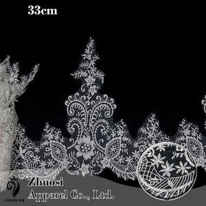 China supplier cheap sequins embroidery white bridal lace trim wholesale