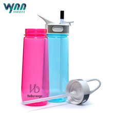 Fashionable BPA free silicone sipper plastic sports water bottle with straw