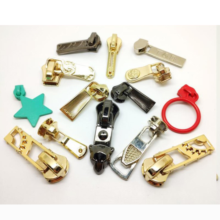 Custom Metal Zipper Ends Head zip Sliders Puller With Letter Logo For Purse and Garment