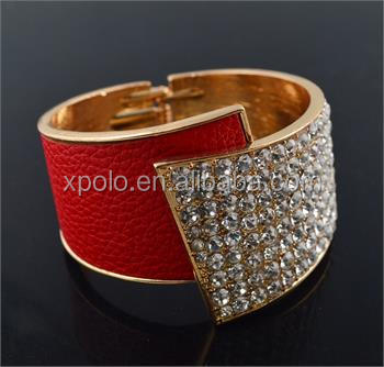 Wholesale fashion crystal red real leather bangle/real leather bracelet/leather wrap