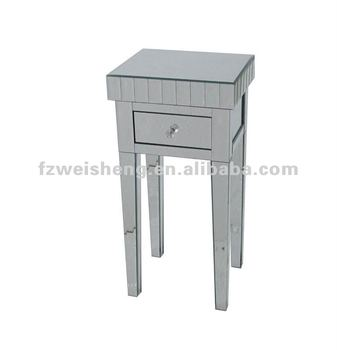 One Drawer Mirrored Side Table/Telephone Table/Bedside Table