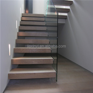 High quality hidden single stringer floating stairs glass railing china suppliers
