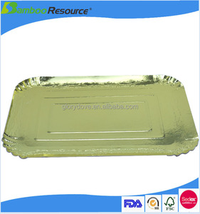 Rectangle embossing edge disposable paper plate golden plate