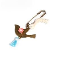 Fashion Bird Animal Tassel Antique Bronze Blue Safety Pin Brooches