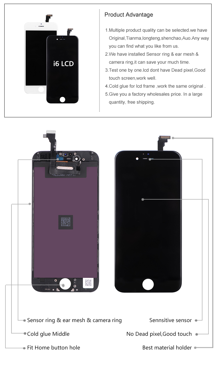 Hot sale for iphone 6 lcd digitizer replacement accept paypal free shipping
