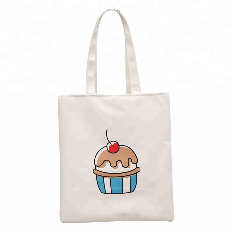 Custom Printed Simple White Printed Pattern Canvas Tote Bag