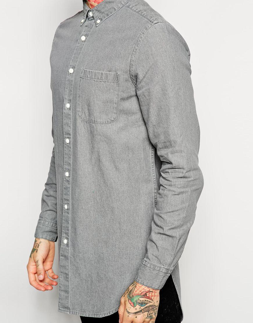 Shirt design for man 2016 - 2016 Pure Cotton Mens Dress Shirts Model Custom Designs Long Line Shirt For Men Grey Color