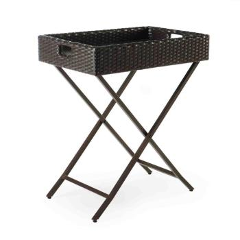 Outdoor Patio Rattan Furniture All-weather Wicker Folding Butler Tray Food/Drink Serving Tray