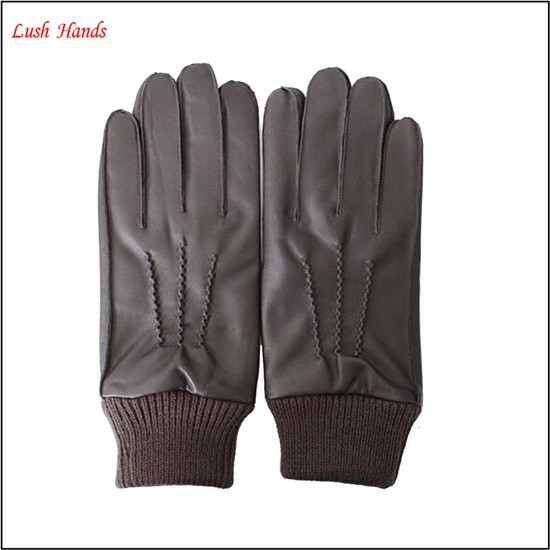mens basic style winter warm leather glove with knitted cuff