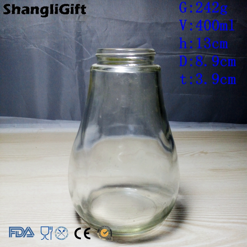 Pear Shaped Glass Bottle For Beverage 400ml For Sale