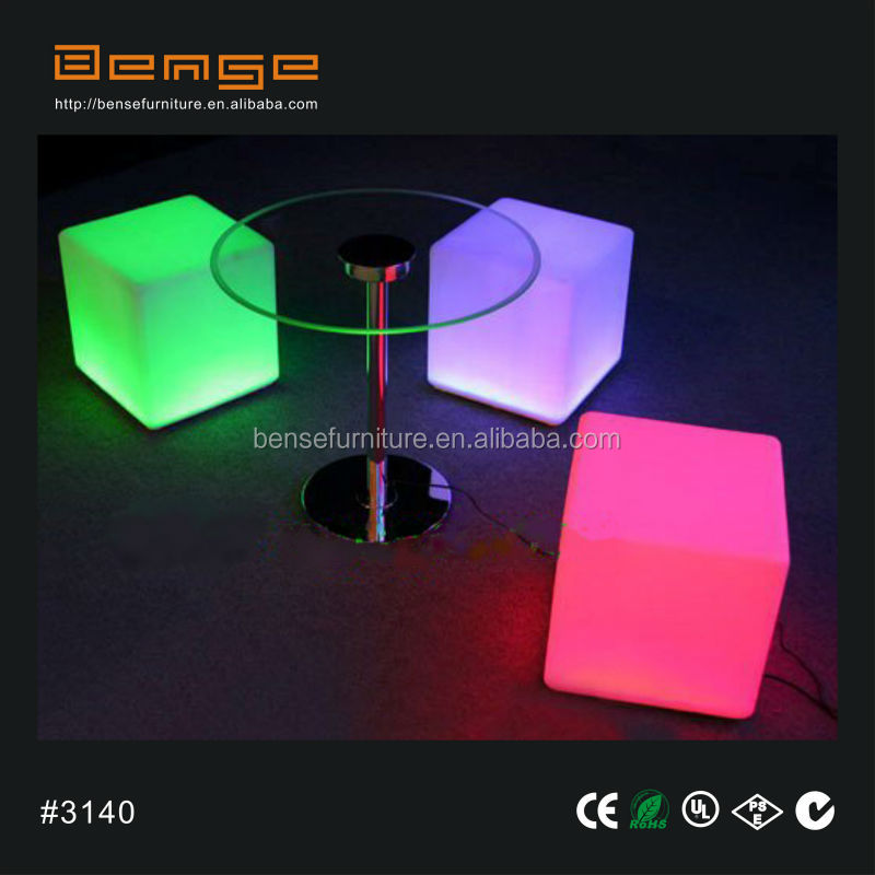 luminous furniture Flashing LED cube chair outdoor cube seating