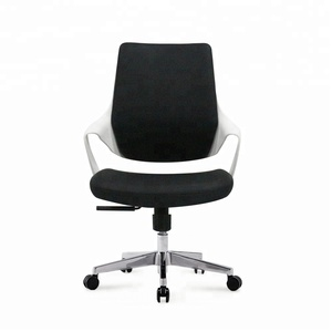 Cheap black leather computer chair, aluminum base black office chair