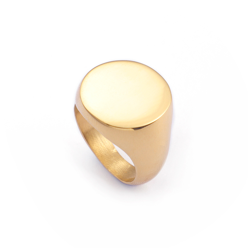KALEN Gold Round Laser Customize Polished <strong>Ring</strong> Women (Size #6~#10)