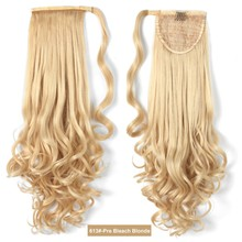 wholesale blonde color wrap around drawstring hair long curly ponytail