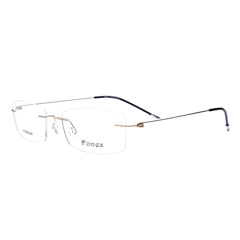 b34d901862c Get Quotations · FONEX Screwless Rimless Memory Titanium Alloy Prescription  Glasses Optical Frame 9201