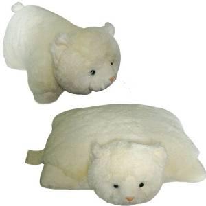 "SMALL WHITE CAT PET CUSHION ANIMAL PILLOW, ""PLUSH & PLUSH"" BRAND, 11"" inches"