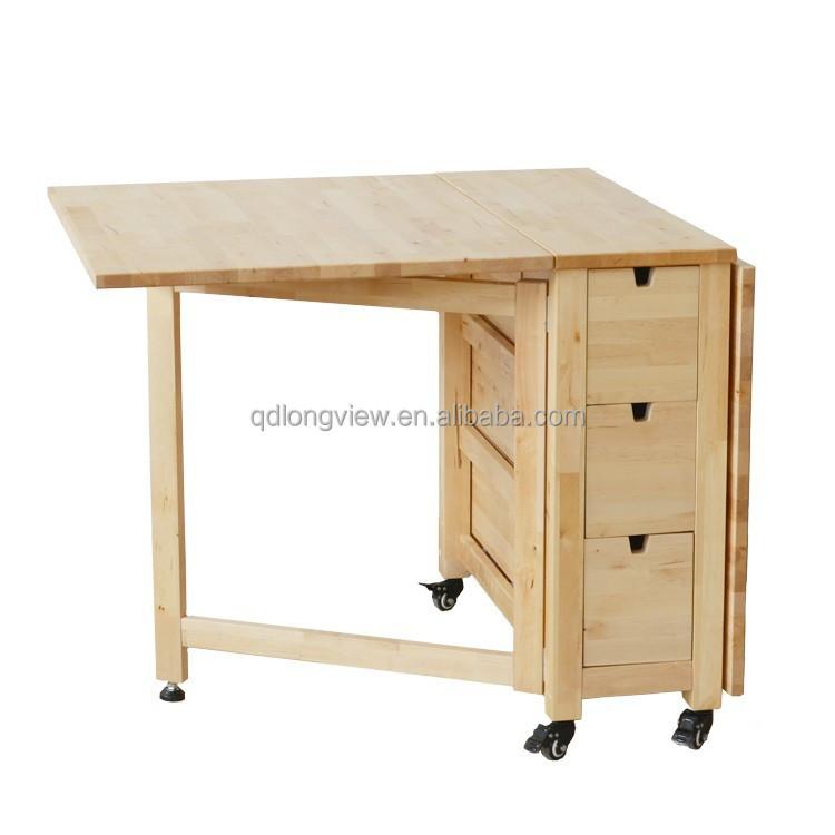 El 2015 europeo de diseño de madera maciza comedor mesa plegable ...