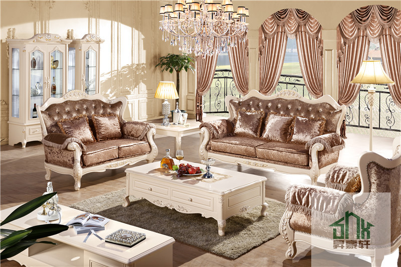 Latest French Style White Antique Two Seat Sofa Hb 605 Living Room Furniture