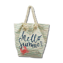 Korean Eco Friendly Stripe Cotton Bag Montage Cotton Tote Bag with Rope Handle