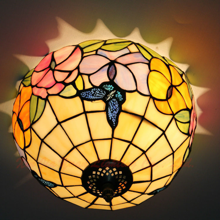 12 Inch Tiffany Stained Glass Ceiling Lights Flowers