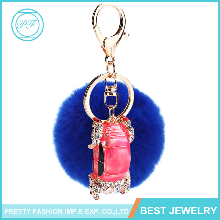 Pink Car Shape Fox Fur Ball Pom Pom Keychain Womens Bag Purse Charms with Golden Key Chain
