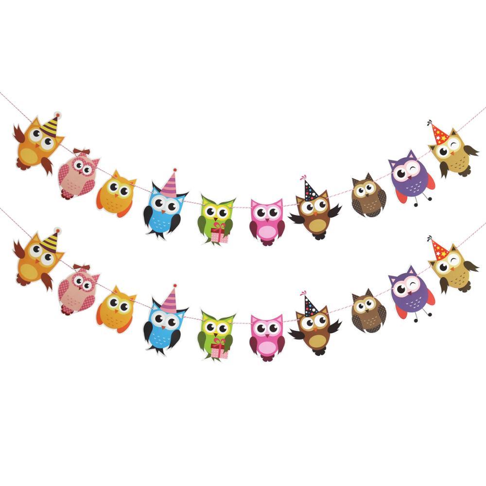 4f80fa764 Feliz Cumpleaños de papel búho banderas del empavesado Banners de dibujos  animados de animales carta guirnaldas