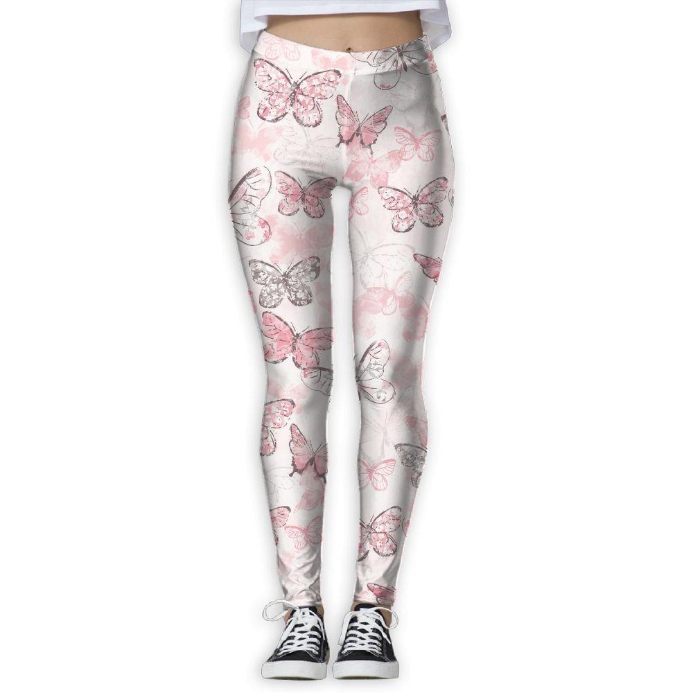 50d03fa0dea3f Get Quotations · LINSHANGYI Pink Butterflies Pencil Yoga Pants Leggings Gym  Jogger Panty Girdle