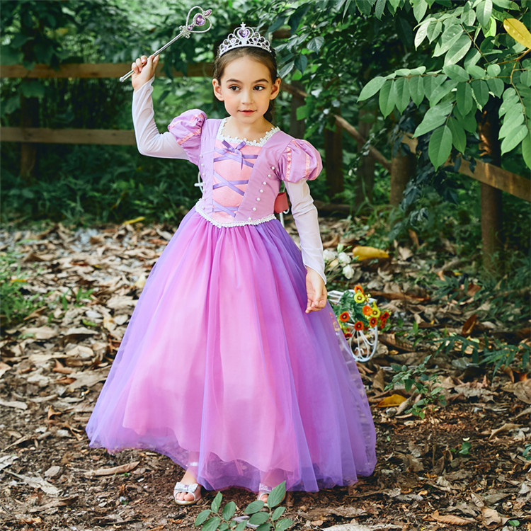 Girl Tangled Rapunzel Princess Dress Kids Cosplay Costume Party Dress Halloween