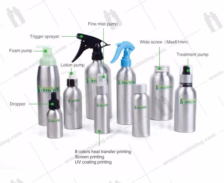 100ml uv coating cosmetic spray aluminum bottle new design wholesale aluminum fine mist spray bottle